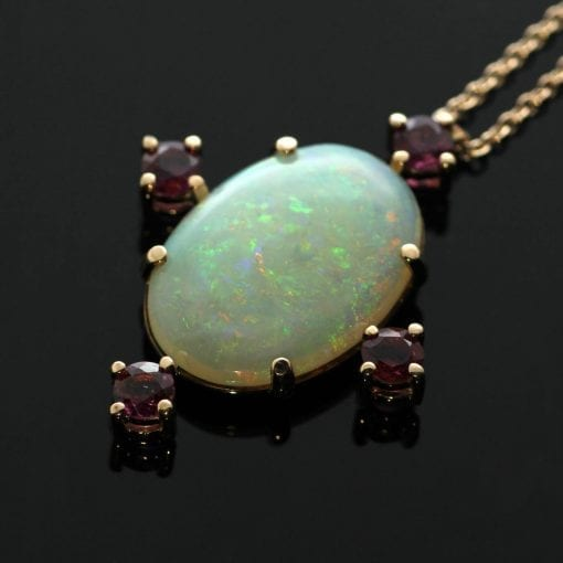 18ct Rose Gold pendant Cabochon cut Australian Opal Round Brilliant Rubies