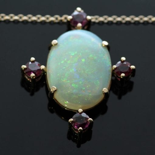 Australian Opal Round Brilliant Rubies Rose Gold pendant