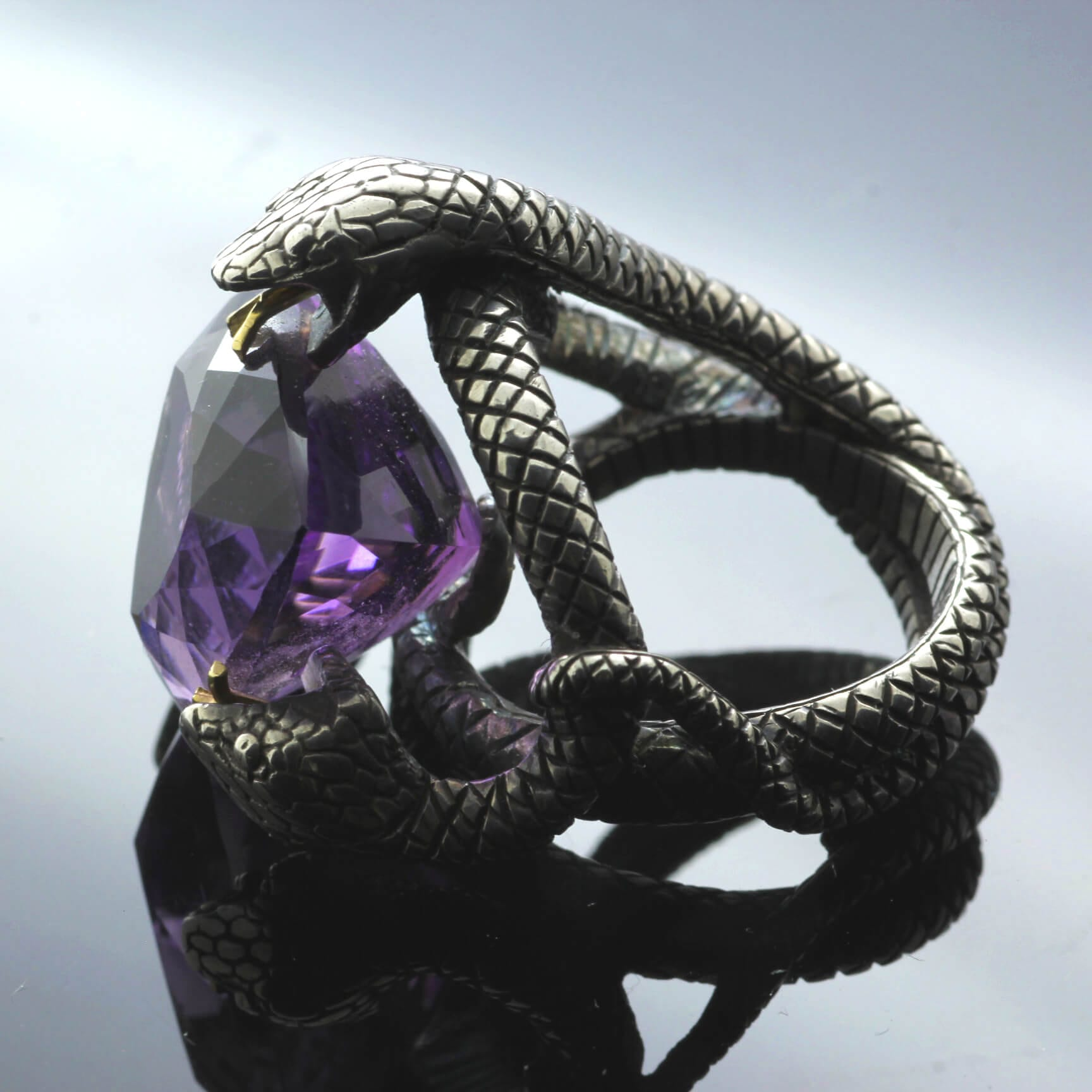 Trillion cut Amethyst Sterling Silver Yellow Gold unique gothic statement ring