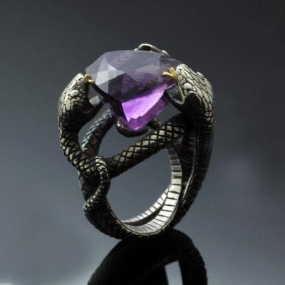 Trillion cut Amethyst Sterling Silver Yellow Gold snake ring handmade unique design