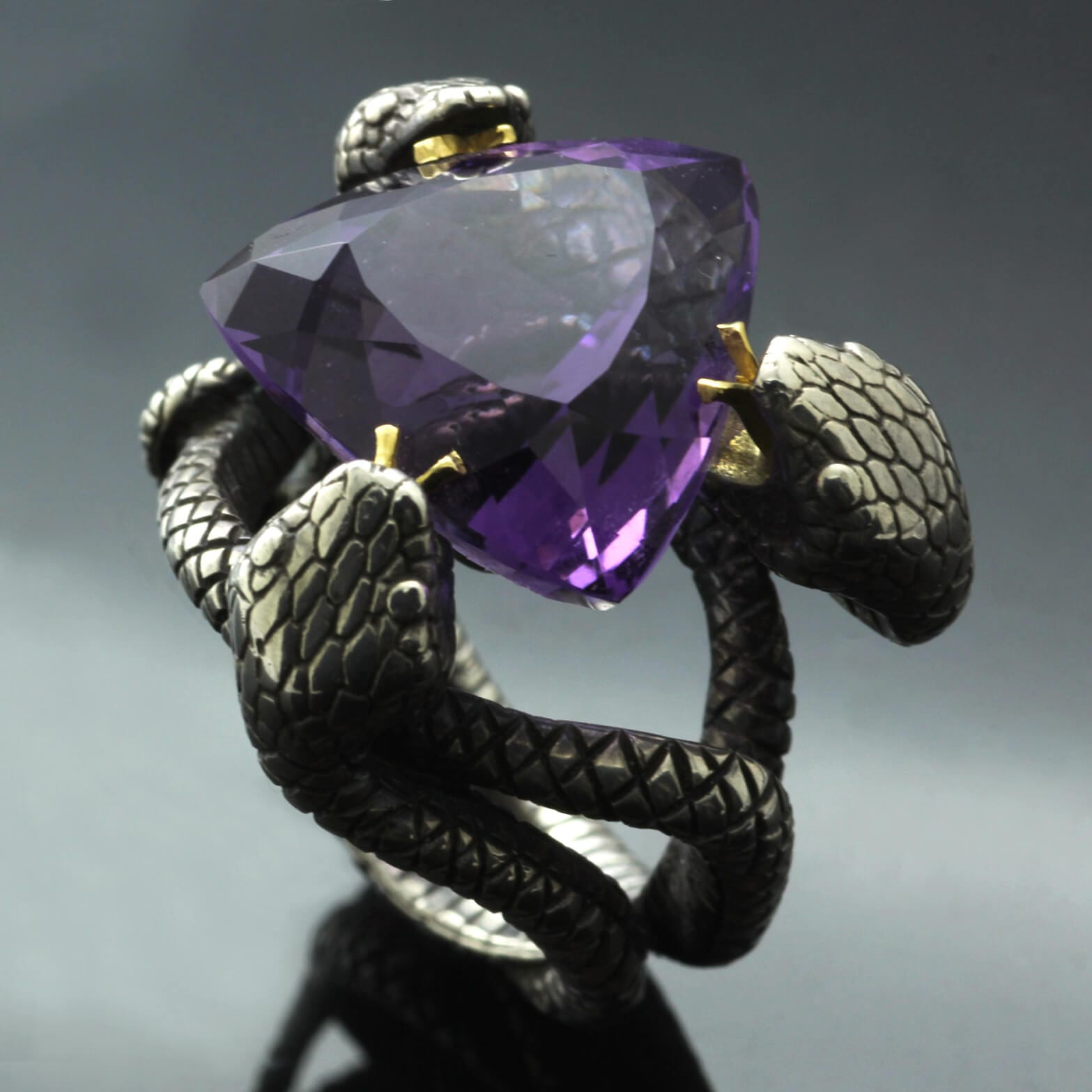 Unique statement ring handmade in Silver and Yellow Gold Trillion cut Amethyst gemstone