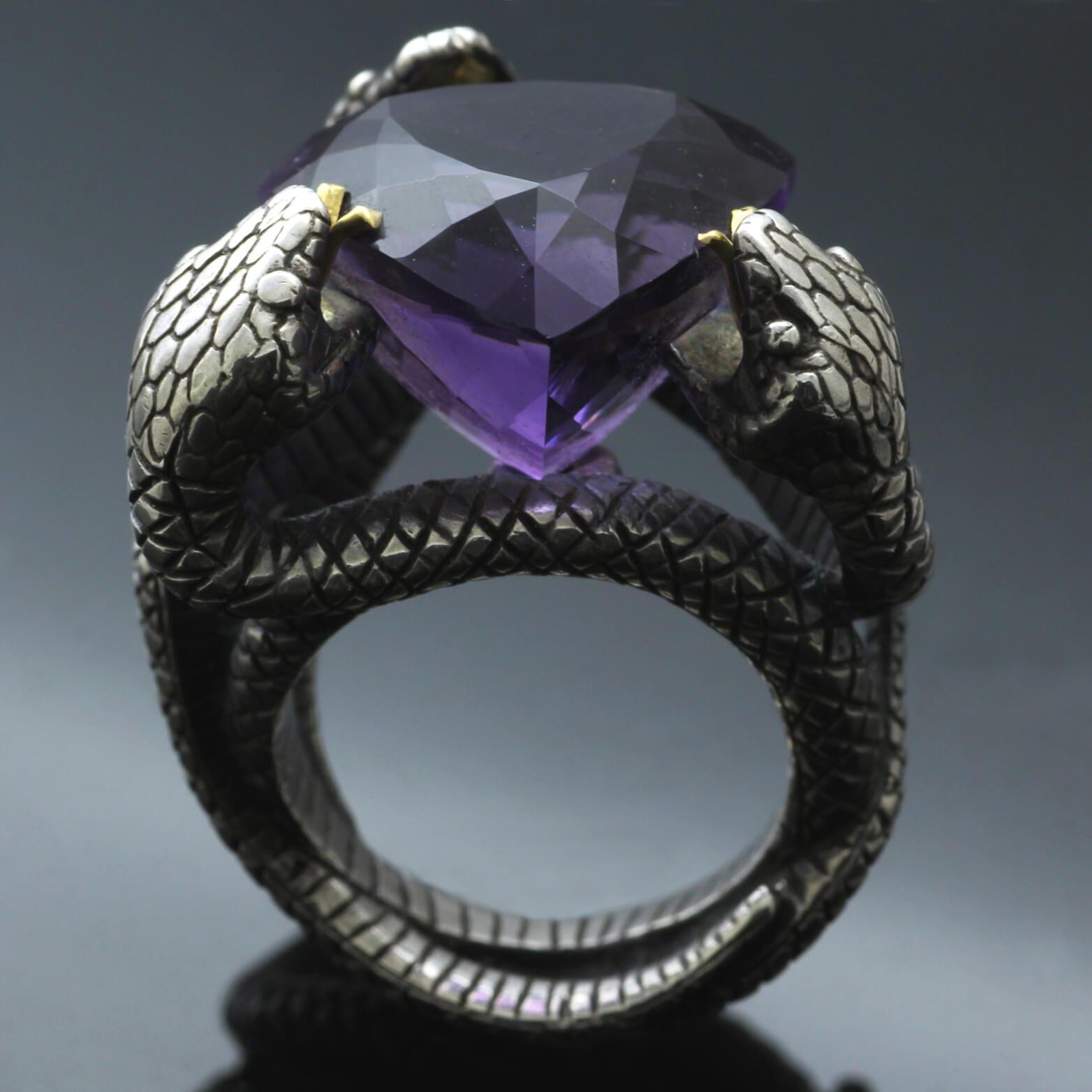 Trillion cut Amethyst gemstone Sterling Silver Yellow Gold modern Gothic Snake design