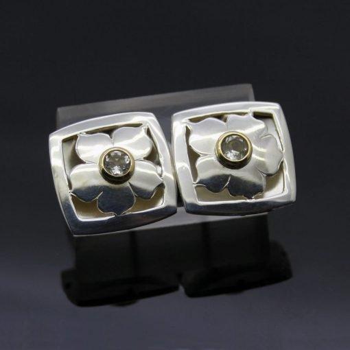 Spring daisy lemon quartz yellow gold sterling silver handmade unique earrings