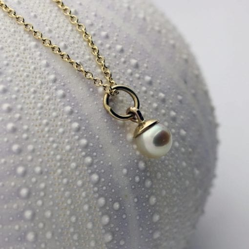 natural white pearl yellow gold contemporary necklace