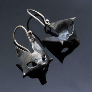 Oxidised Sterling Silver dangle droplet earring fox mask