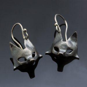 Fox earrings oxidised sterling silver handmade
