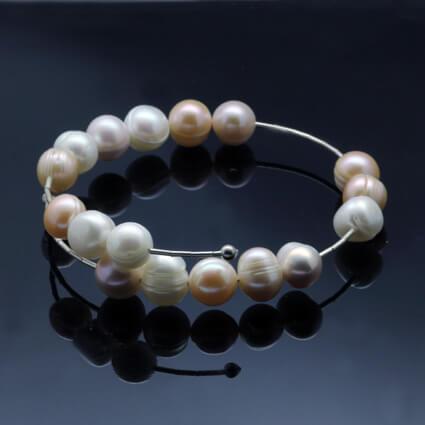 peach pastel pearl contemporary bracelet handmade