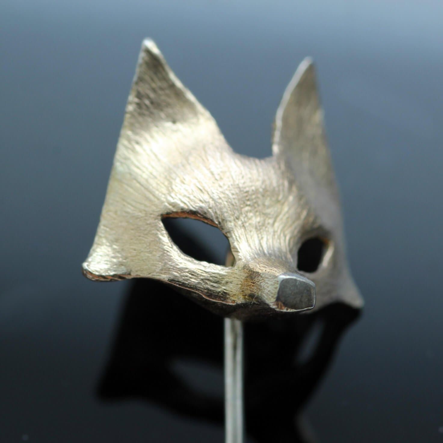 Handmade Fox mask charm tie pin handmade