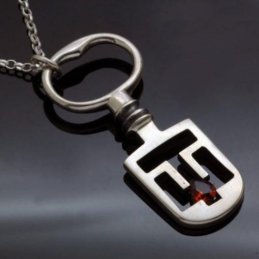 Garnet gemstone necklace Silver latch key