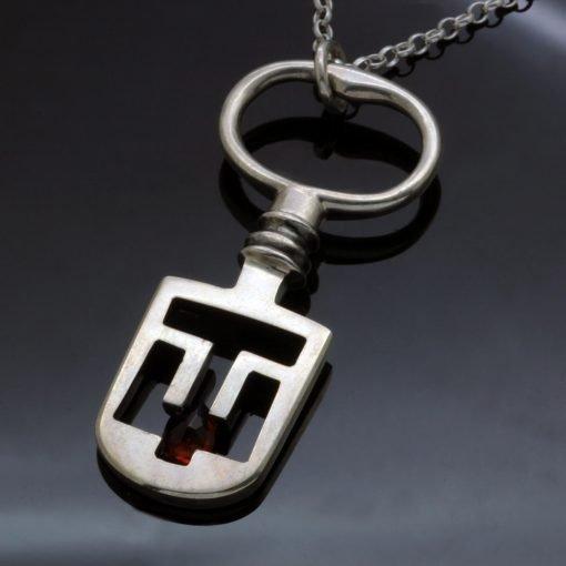 Antique Sterling Silver key pendant handmade garnet gem