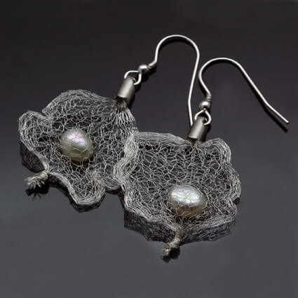 handmade white pearl droplet earrings unique silver mesh design