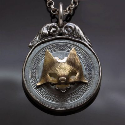 Sterling Silver fob necklace with Rose Gold fox charm