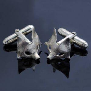 solid Sterling Silver cufflinks handmade fox motif
