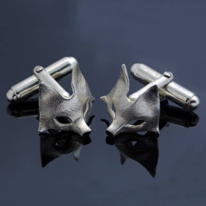 solid Sterling Silver cufflinks handmade fox motif
