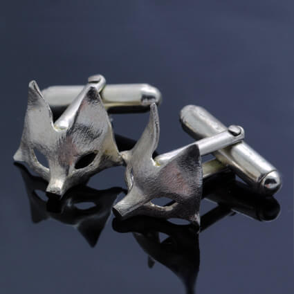 925 Sterling Silver handcrafted fox cufflinks woodland wedding