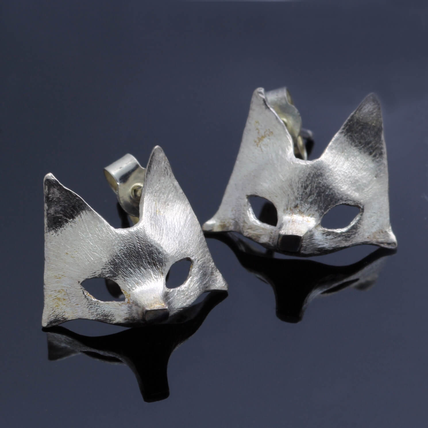 Handmade Fox mask solid Silver stud earrings