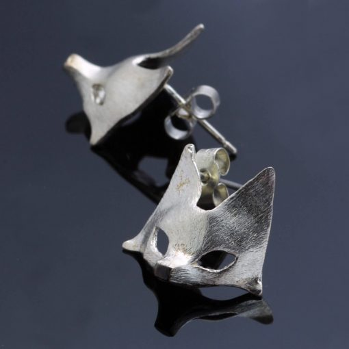 Handmade solid Sterling Silver fox mask charm stud earrings