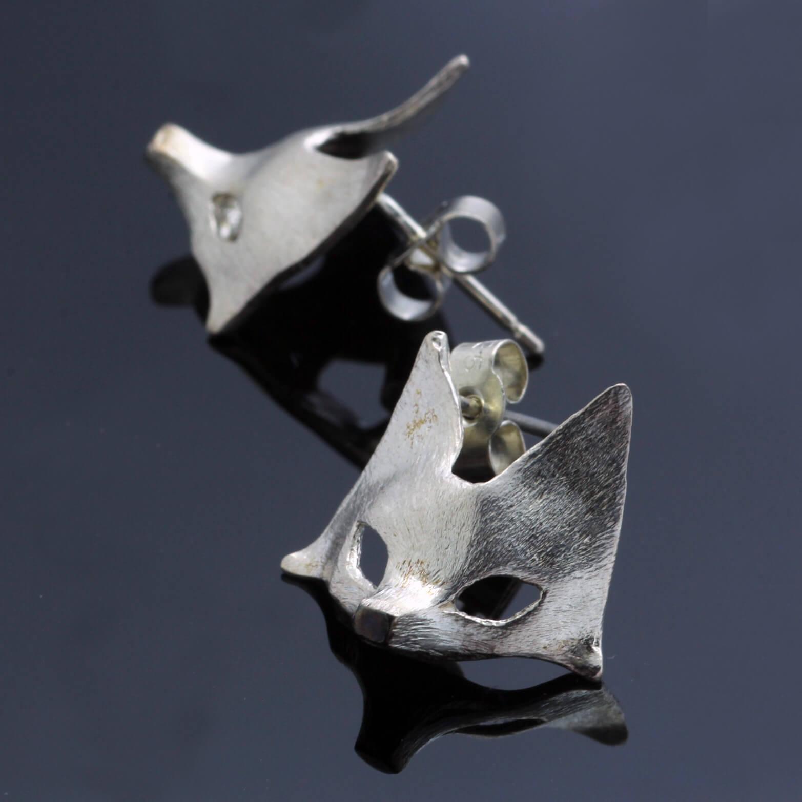 Handmade solid Sterling Silver fox mask charm stud earrings