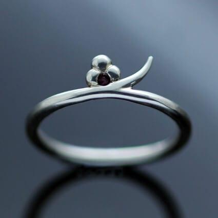 Sterling Silver Ruby gemstone handmade modern ring