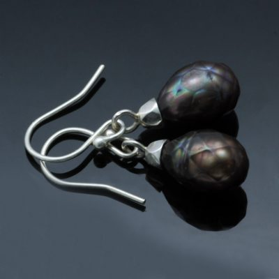 Sterling Silver faceted Peacock Pearl droplet dangle earrings
