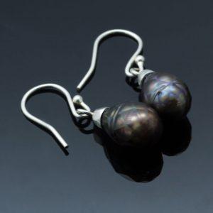 Handmade Peacock Pearl Sterling Silver droplet earrings
