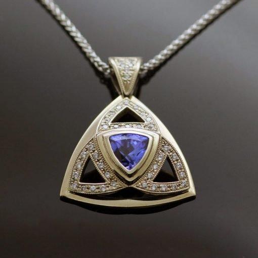 18ct White Gold unique pendant Trillion cut Tanzanite pave set Diamonds 18ct White Gold