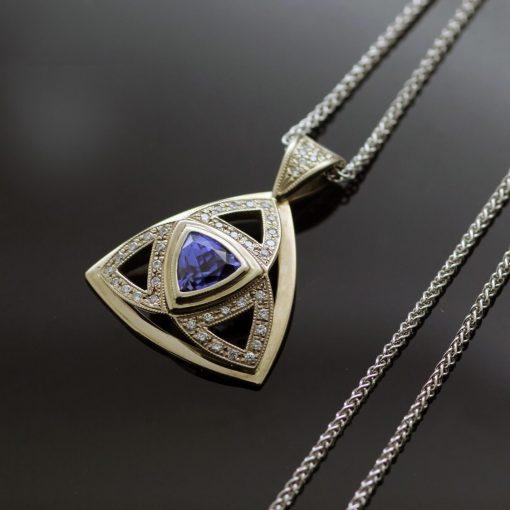 Unique necklace handmade 18ct White Gold Trillion cut Tanzanite pave set Diamonds