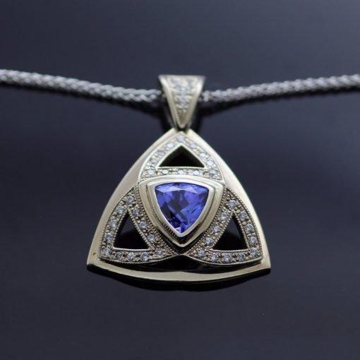 Statement necklace Trillion cut Tanzanite pave set Diamonds pendant