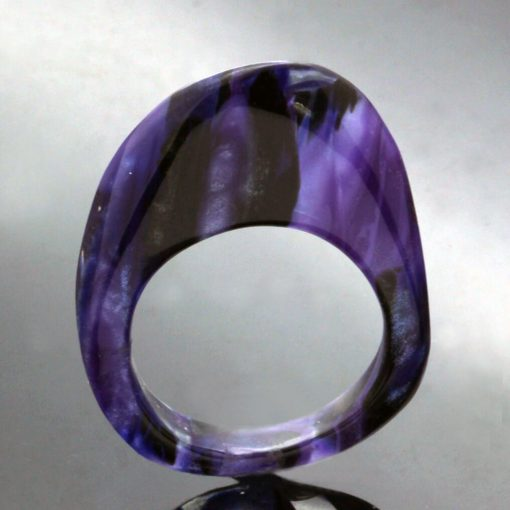 Unique upcycled perspex statement ring handmade
