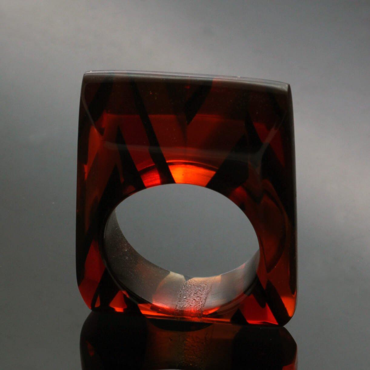 Contemporary statement jewellery handmade perspex ring