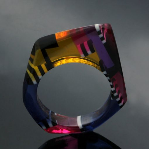 Handmade statement cocktail ring perspex