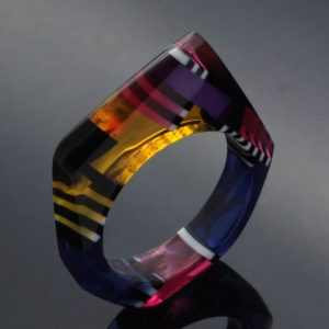 Perspex statement ring handcrafted upcycled material