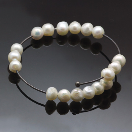 White Pearl Modern bracelet handmade