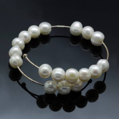 White Pearl modern bracelet handcrafted