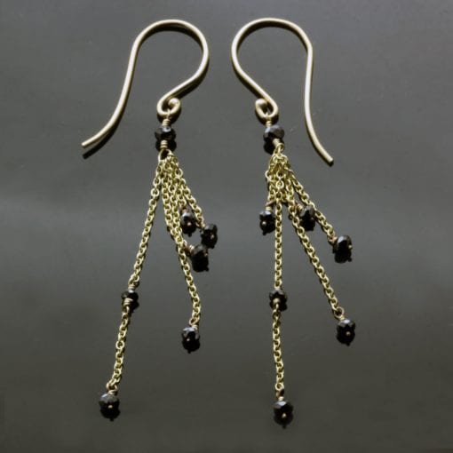 Handmade 9ct Yellow Gold Black Diamond bead modern dangle earrings