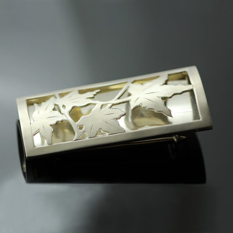 Handmade layered autumn leaf brooch yellow gold sterling silver