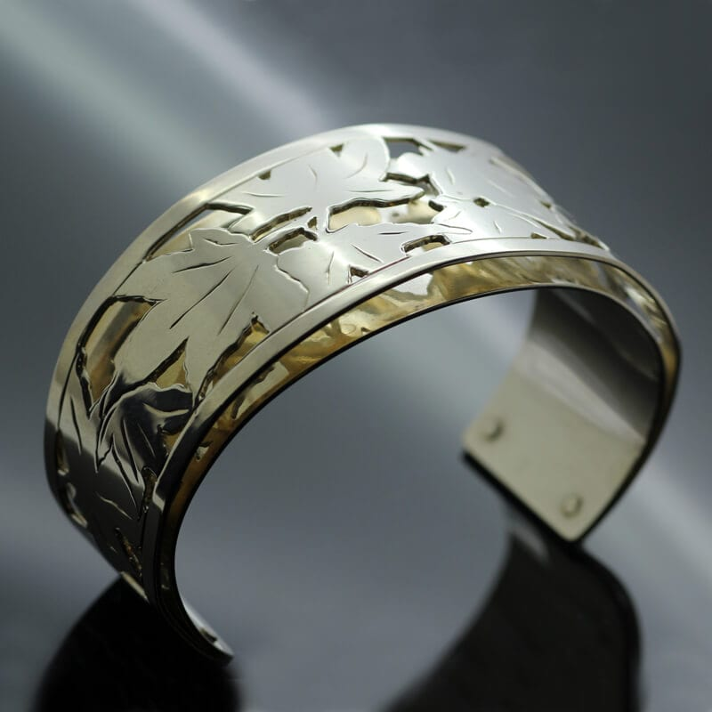Handcrafted Sterling Silver Yellow Gold hand pierced contemporary cuff