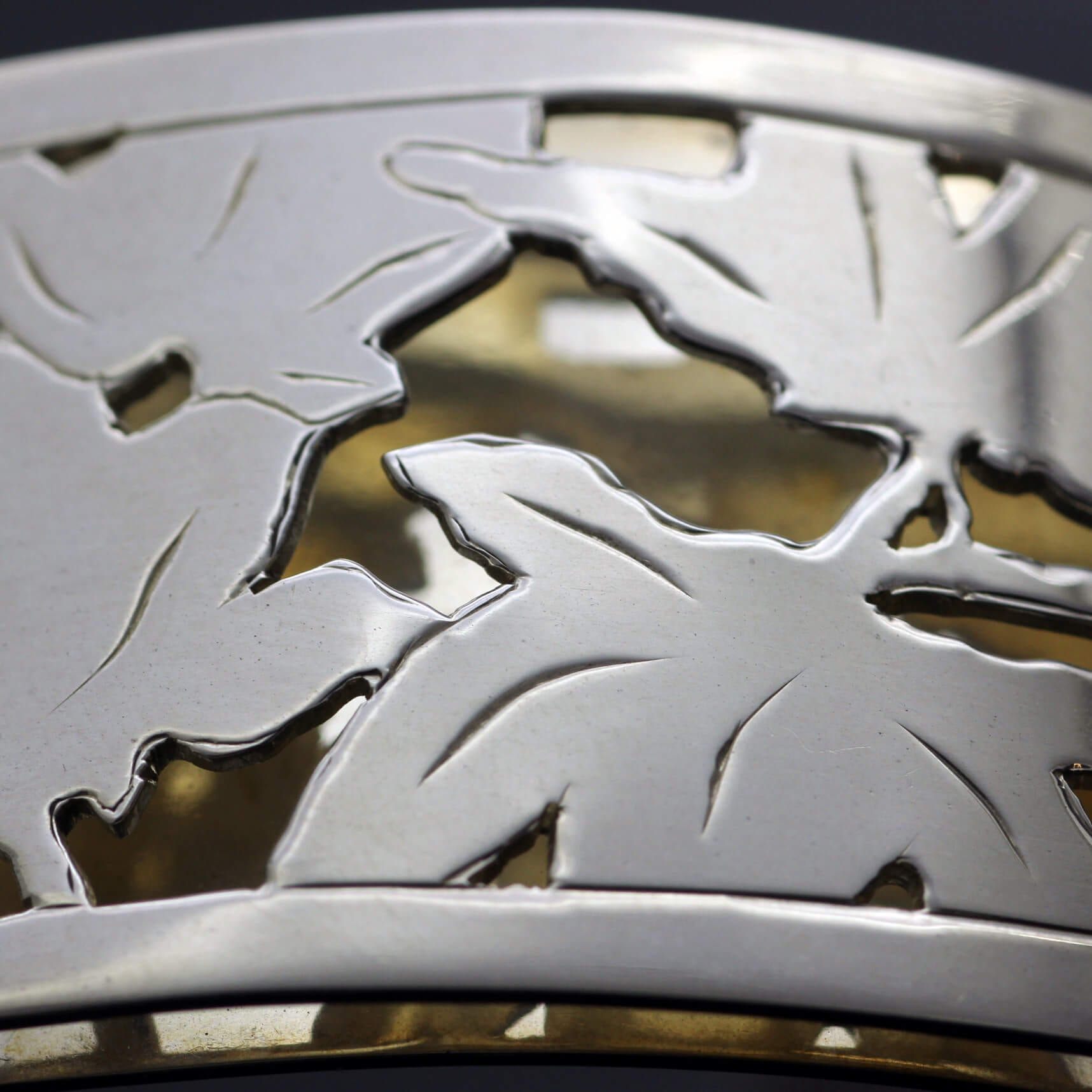 Handcrafted modern cuff Sterling Silver Yellow Gold autumn leaves