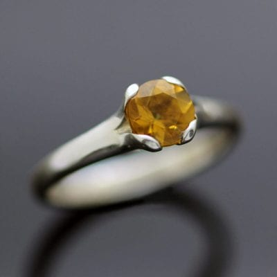 Citrine and Sterling Silver handcrafted Flower ring by Julian Stephens Goldsmith
