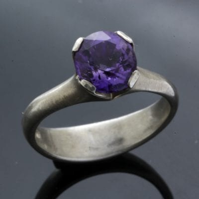 Unique and colourful Amethyst gemstone and Sterling Silver Flower ring