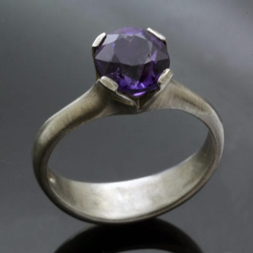 Amethyst gemstone handset in Sterling Silver Flower ring design by Julian Stephens
