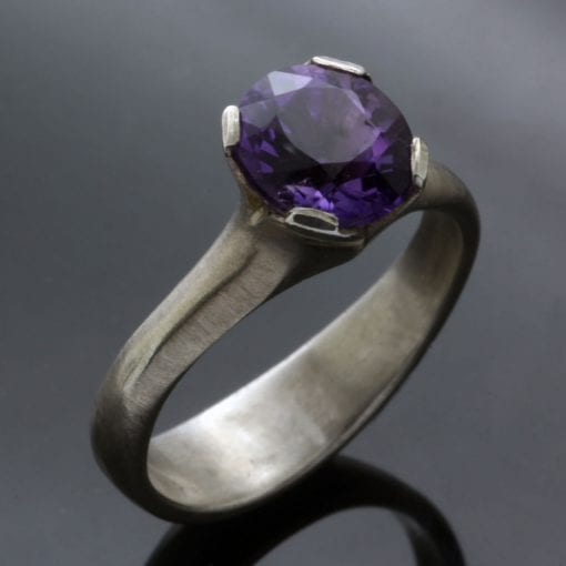Amethyst gemstone set in solid Sterling Silver to create this modern Flower ring design