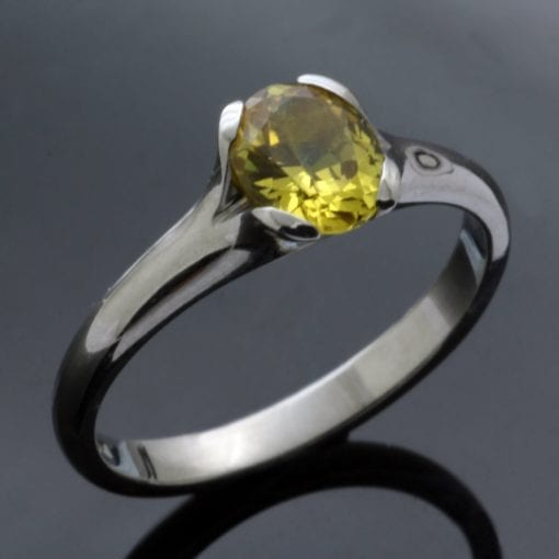 Chrysoberyl engagement ring handmade by Julian Stephens