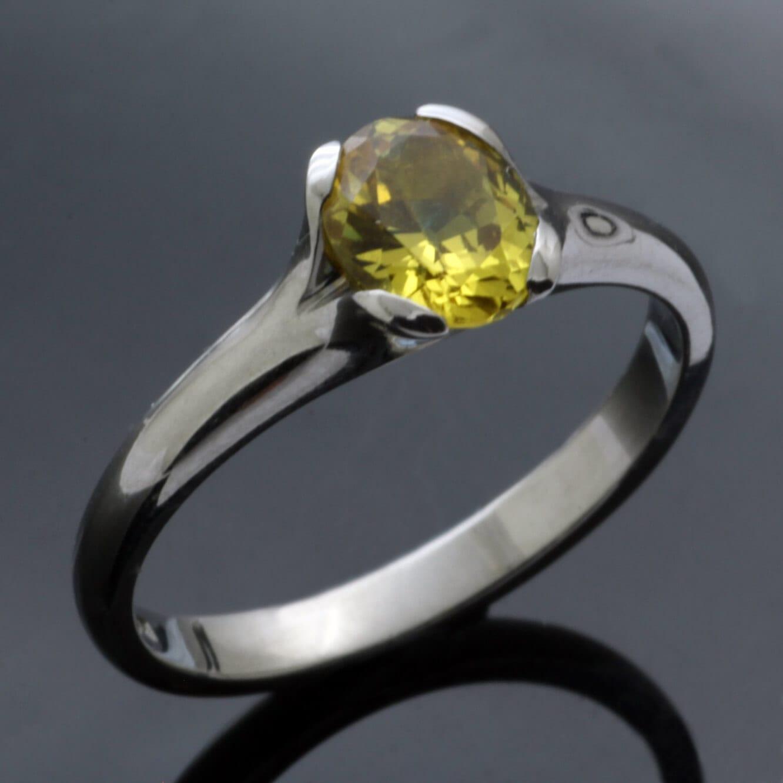Chrysoberyl engagement ring handmade by Julian Stephens