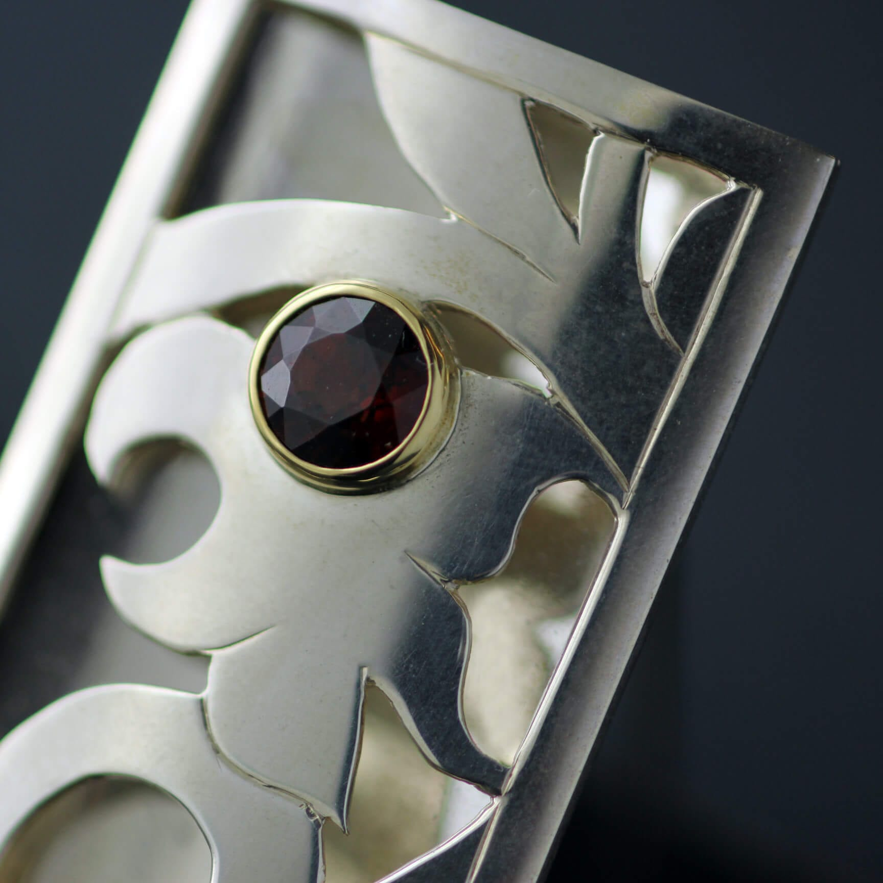 Contemporary Fine Jewellery Yellow Gold Sterling Silver Spectite Garnet handcrafted brooch
