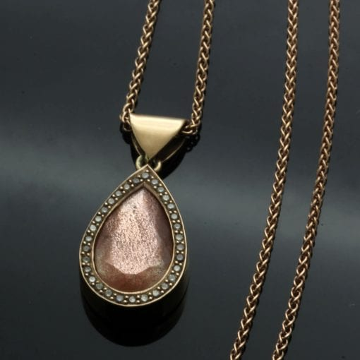 Arizona sunstone contemporary handcrafted pendant Rose Gold Champagne Diamonds