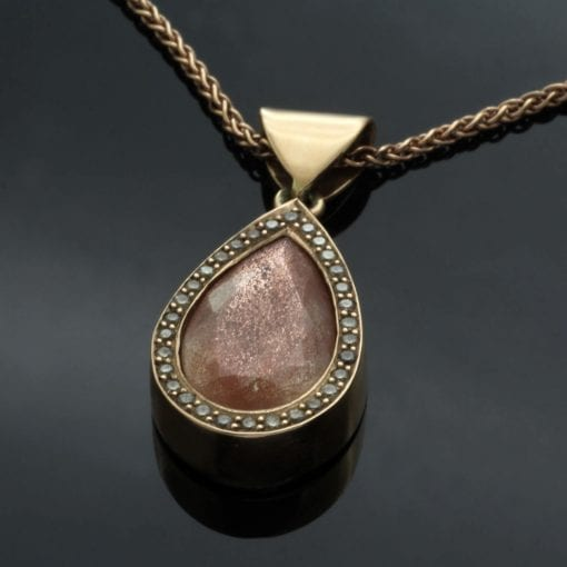 Pear Cut Arizona Sunstone Champagne Diamond Rose Gold contemporary pendant