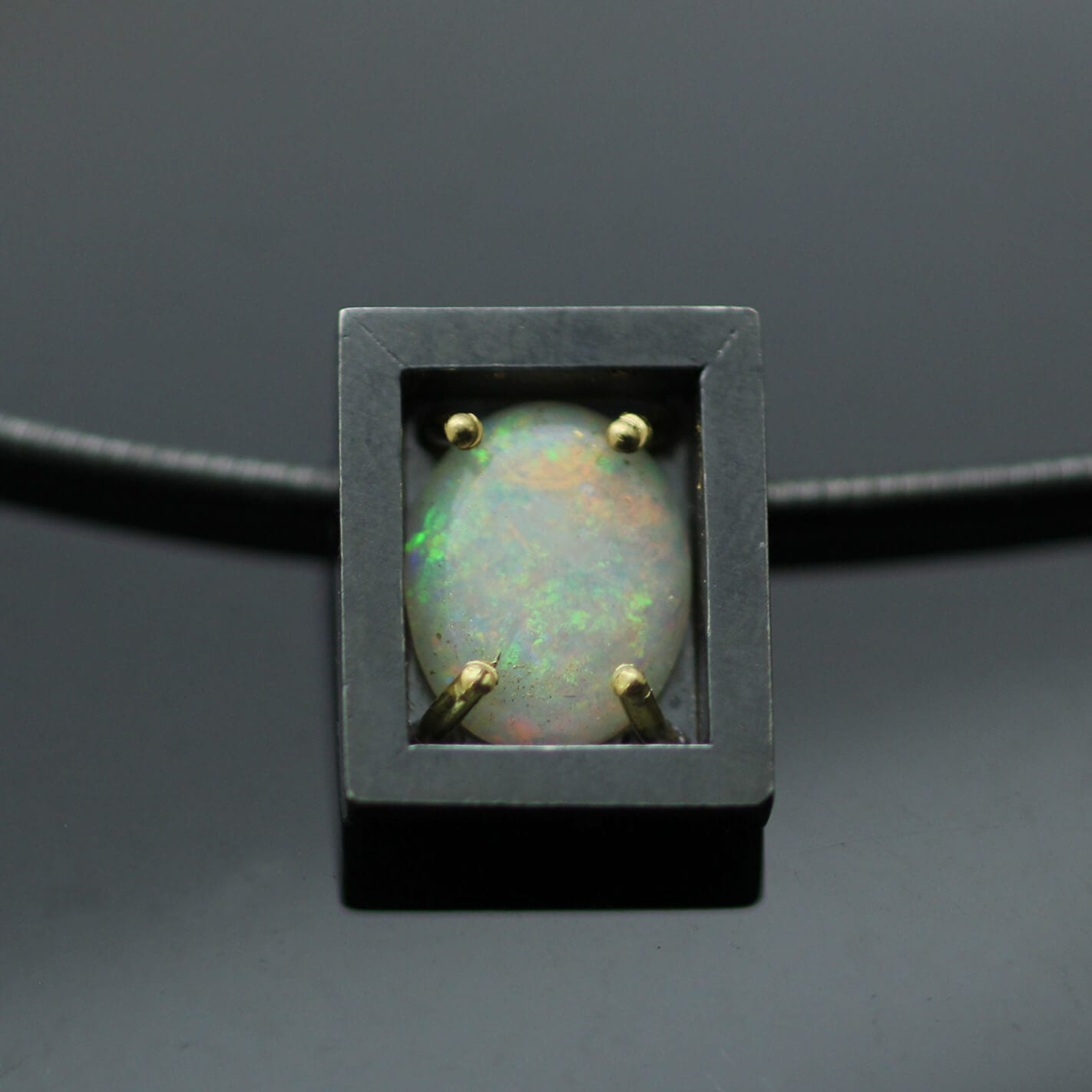 Contemporary Opal gem Sterling Silver Yellow Gold minimal modern necklace