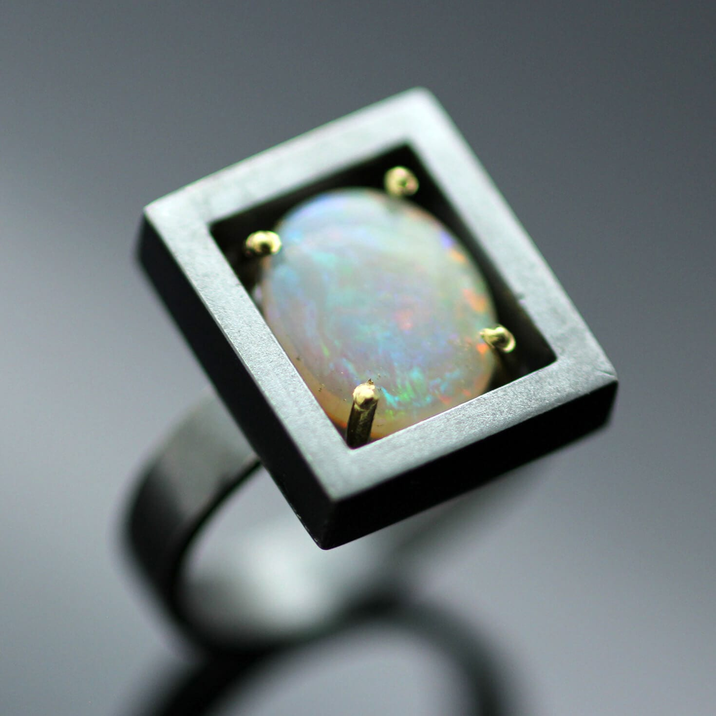 Australian Fire Opal handmade statement ring Silver Yellow Gold contemporary style
