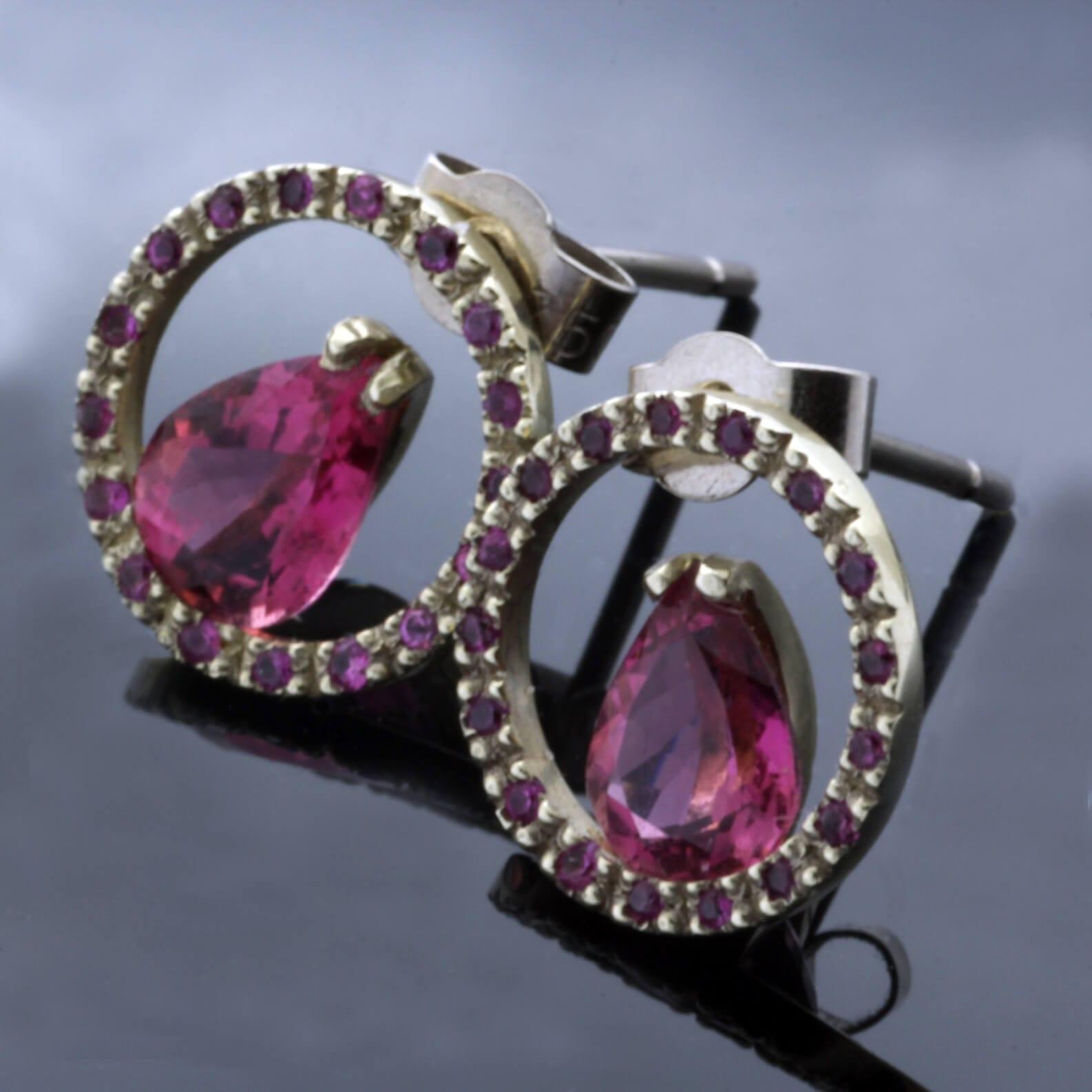 Pear cut Pink Tourmaline Pink Sapphire White Gold handmade stud earrings